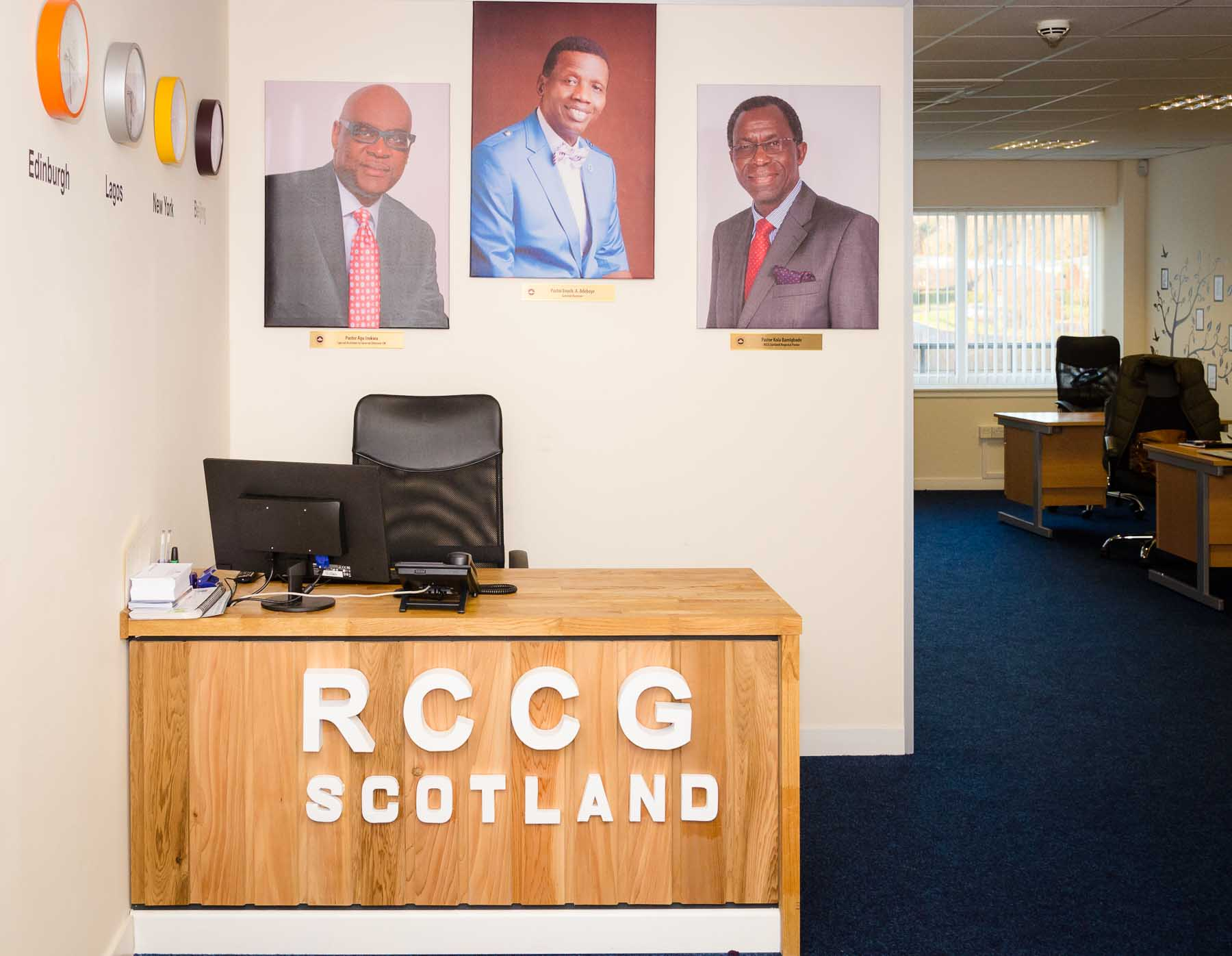 Front desk of rccg scotland office