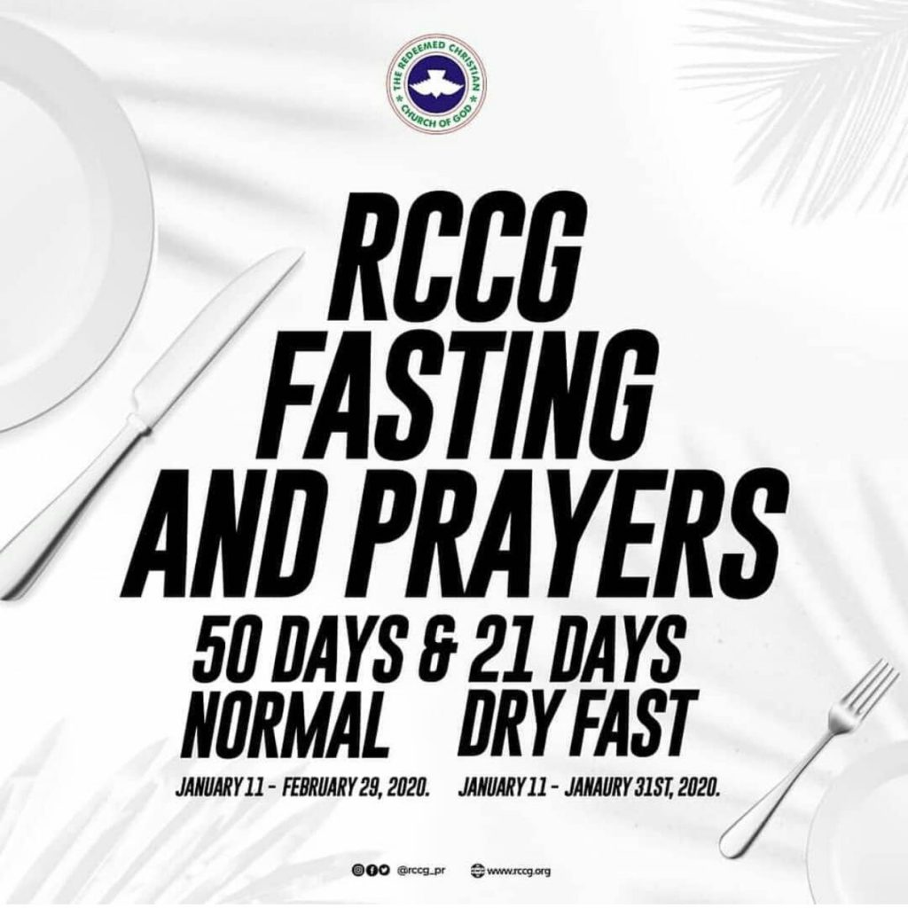 RCCG 50 days Fasting and Prayers Guide 2020